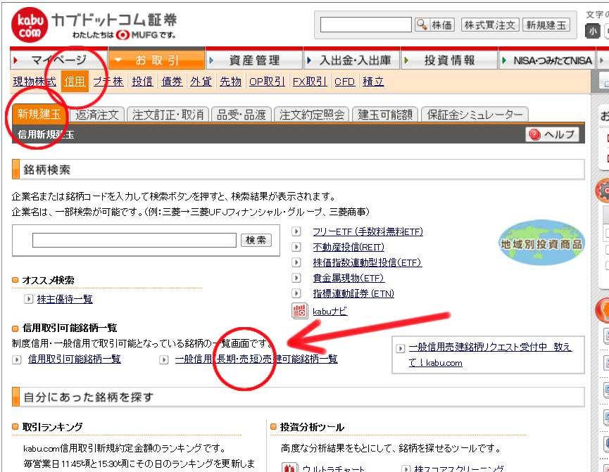 カブドットコム証券一般信用検索画面