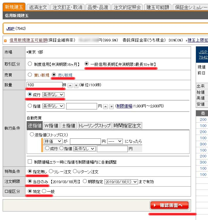 JSP信用売り注文
