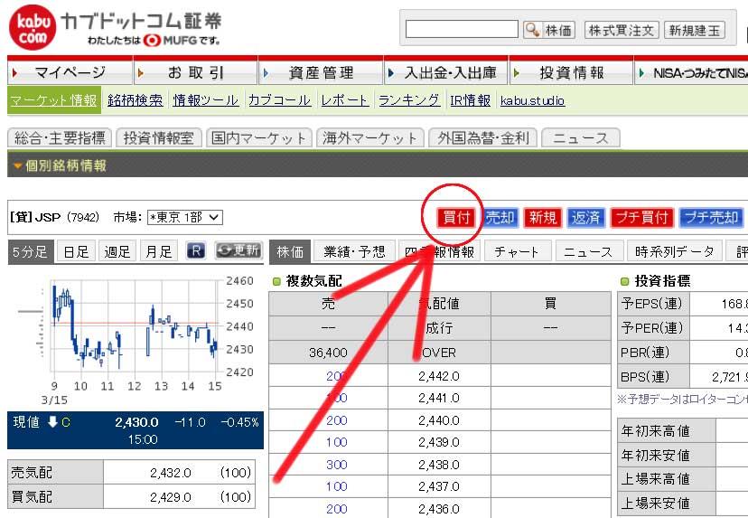 JSP株 現物買い画面