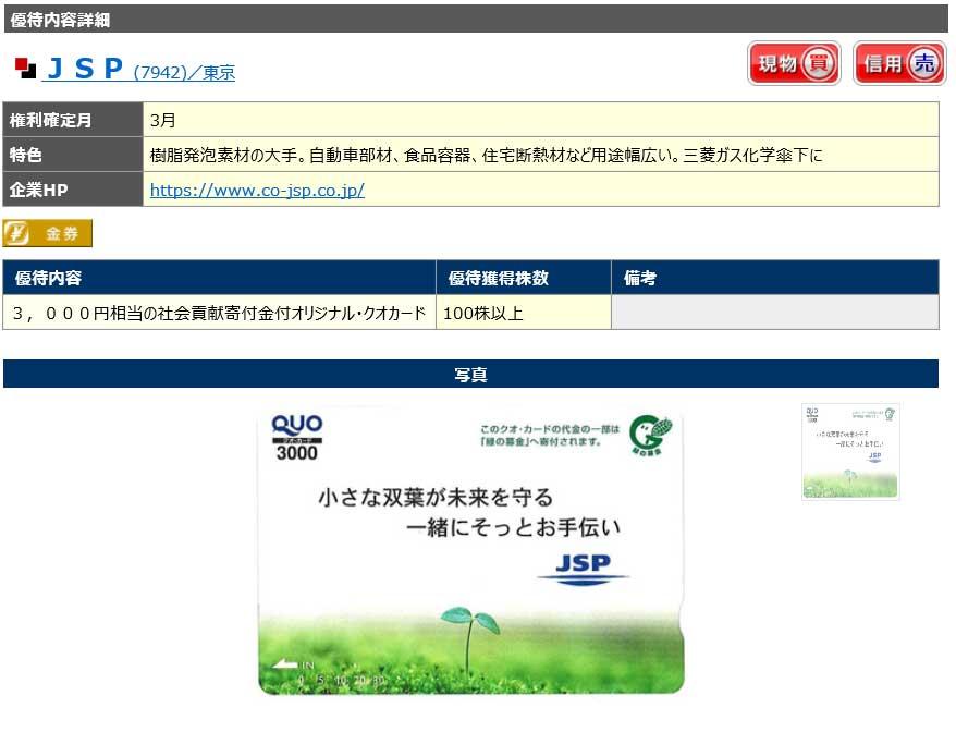JSP株主優待詳細