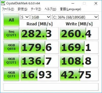 SSD交換後の転送速度
