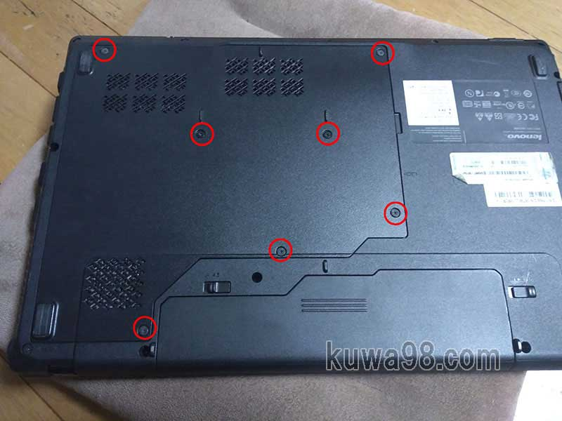 LenovoノートPC G560裏側